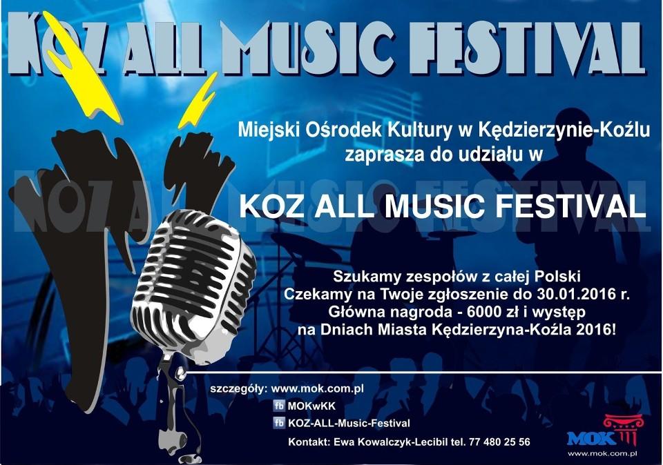 Zapraszamy zespoły do VIII edycji KOZ ALL MUSIC FESTIVAL